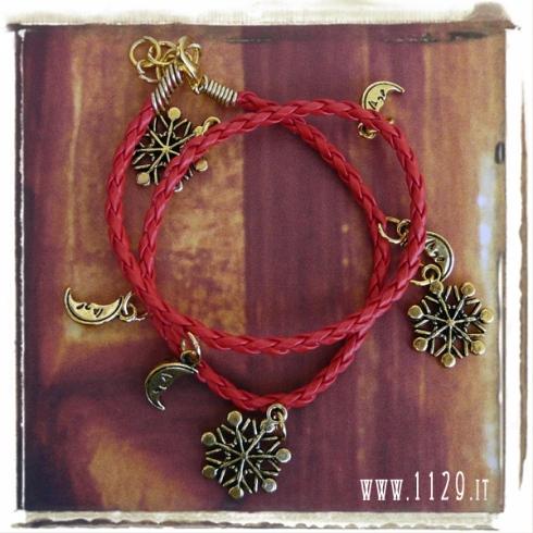 bracciale rosso doppio luna fiocco neve oro golden charms bracelet 1129