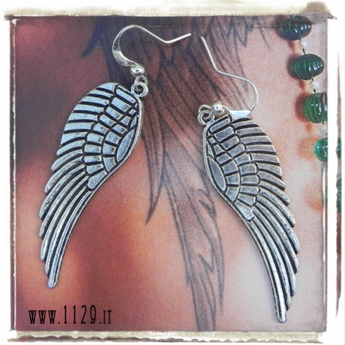 orecchini charm ali wings earrings 50x18mm