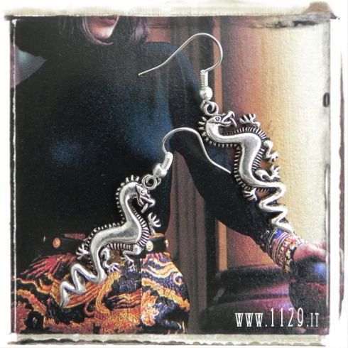 orecchini charm drago dragon earrings 30x14