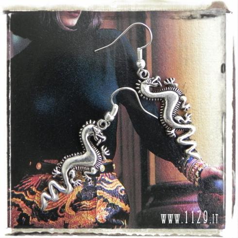 orecchini charm drago dragon earrings 30x14