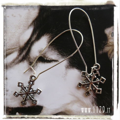 orecchini charm fiocco neve cristallo snowflake earrings 25x15 mm