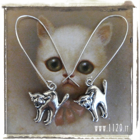 orecchini charm gatto earrings 21x19mm