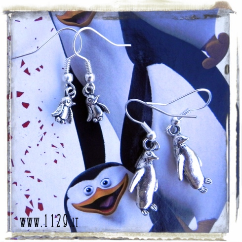 orecchini charm pinguini pinguino penguin earrings ciondoli