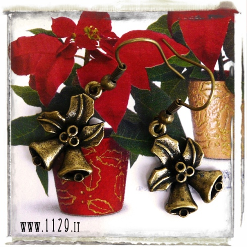 orecchini charm agrigoflio pungitopo campane natale holly bells earrings 20x15 mm