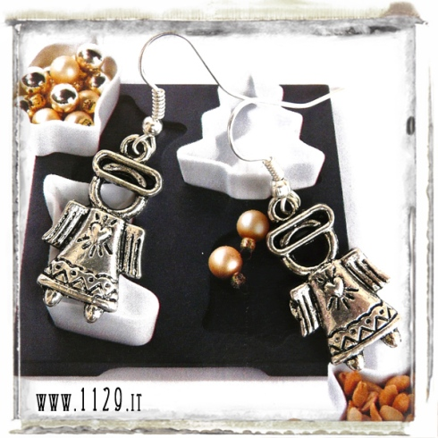 orecchini charm angelo cuore natale angel earrings 27x15