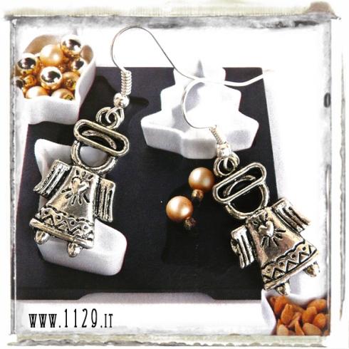 orecchini charm angelo cuore natale angel earrings 27x15