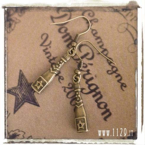 orecchini charm bottiglia champagne dom perignon capodanno bottle earrings 27x6 mm