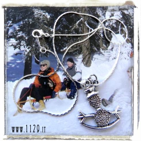 collana-catena-cobra-pendente-pupazzo-di-neve girocollo charms