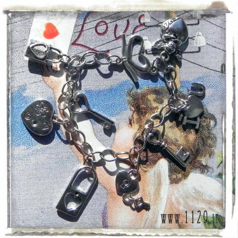 braccialetto ciondoli cuore chiavi lucchetto san valentino amore innamorati charms