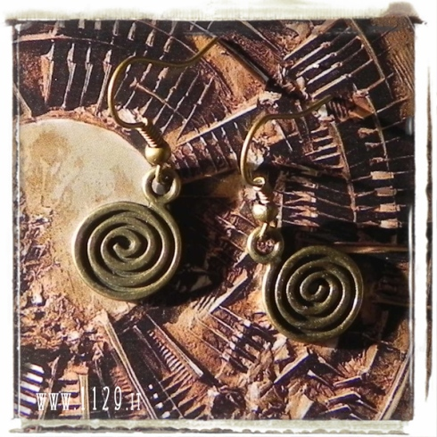 orecchini bronzo spirale coil charms bronze earrings 1129 16x14mm