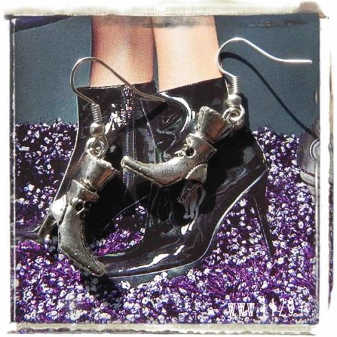 orecchini ciondolo argento stivaletto stiletto tacco high heels boot shoes silver charms earrings 1129 23x16mm