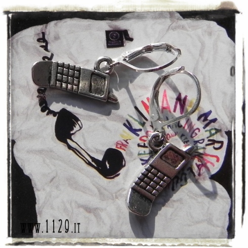 orecchini ciondolo argento telefono cellulare telefonino mobile phone cell silver charms earrings 1129 17x10mm