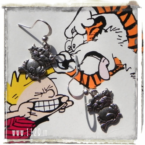 orecchini ciondolo argento tigre cartoon hobbes tiger silver charm earrings 1129 19x13mm
