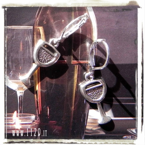 orecchini ciondolo bicchiere da vino wine glass charms earrings 1129 20x10 mm
