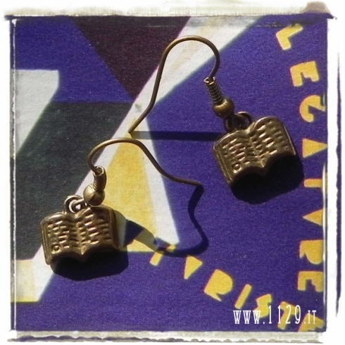 orecchini ciondolo bronzo libro lettura romanzo book reading bronze charm earrings 1129 12x10mm