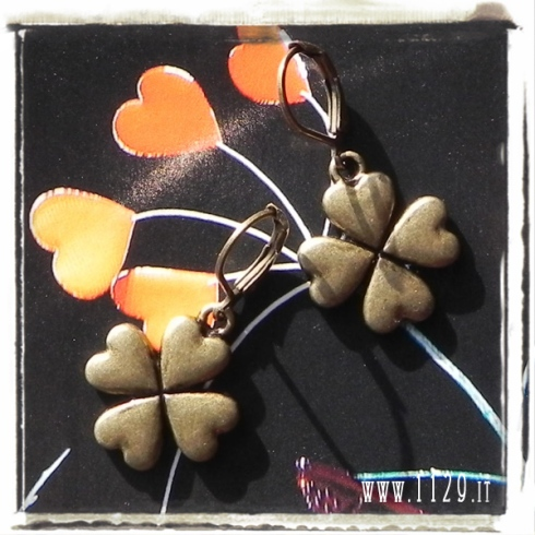 orecchini ciondolo bronzo quadrifoglio cuori fortuna lucky hearts bronze charms earrings 1129 18x20 mm