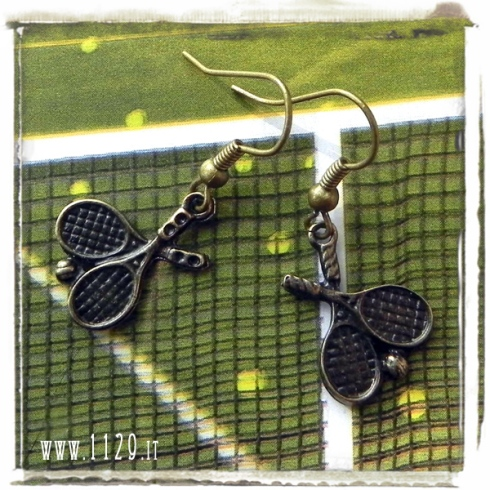 orecchini ciondolo bronzo racchette palla tennis racket ball sport bronze charm earrings 1129 20x14mm