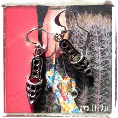 orecchini ciondolo ciabattine sabot shoes charms earrings 1129 25x7 mm