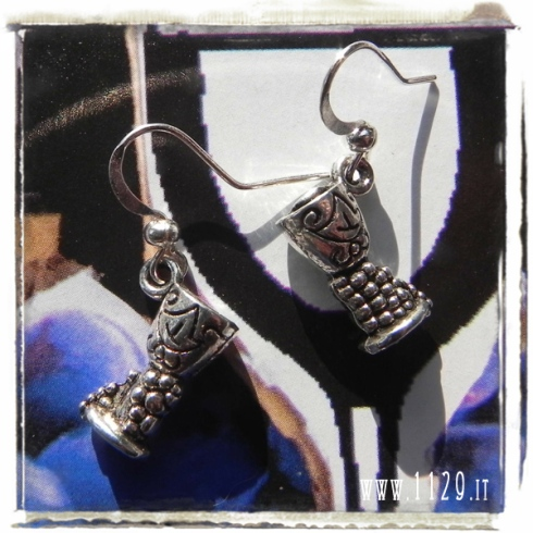orecchini ciondolo coppa vino vintage uva ancient wine bowl silver charms earrings 1129 16x10mm