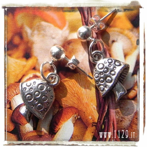 orecchini ciondolo fungo funghi mushroom silver charms earrings 1129 15x12mm