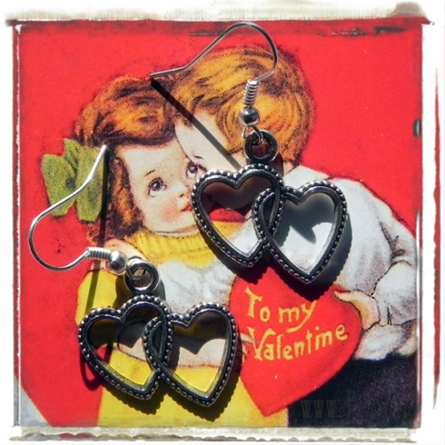 orecchini doppio cuore amore hearts charms earrings san valentini 1129 23x22mm