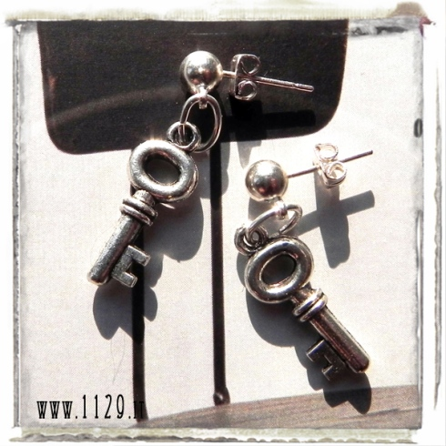 orecchini chiave pallina ciondolo modern key charms earrings 1129 20x8mm