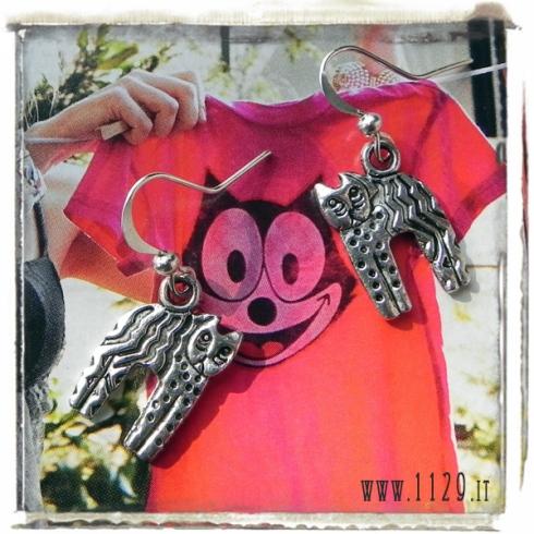 orecchini ciondolo argento gatto amore gatto micio miao cat silver charm earrings 1129 20x13mm