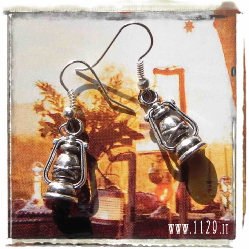 orecchini ciondolo argento lanterna lume lantern silver charms earrings 1129 20x12mm