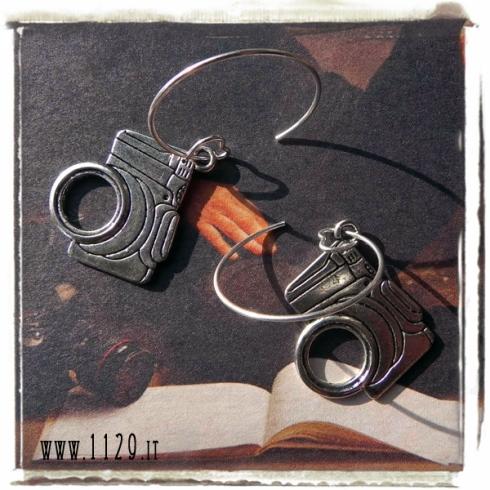 orecchini ciondolo argento macchina fotografica 35mm photo camera silver charms earrings 1129 25x20mm