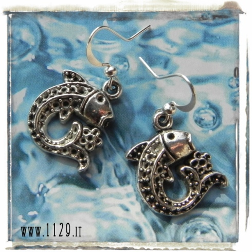 orecchini ciondolo argento pesce fiore mare estate fish flower silver charm earrings 1129 18x22mm