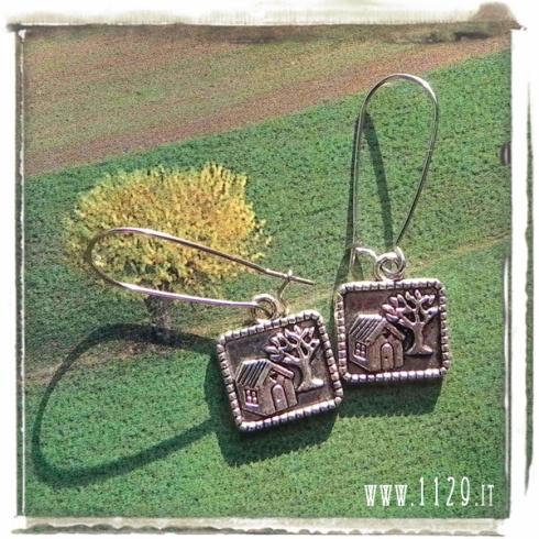 orecchini ciondolo argento quadretto paesaggio casa albero landscape picture silver charms earrings 1129