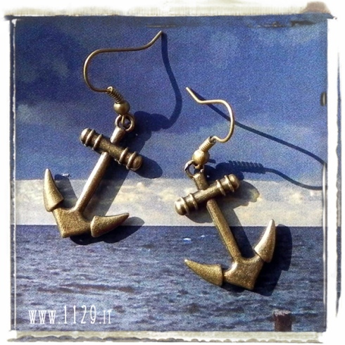 orecchini ciondolo bronzo ancora mare barca sea ship anchor bronze charm earrings 1129 28x20mm