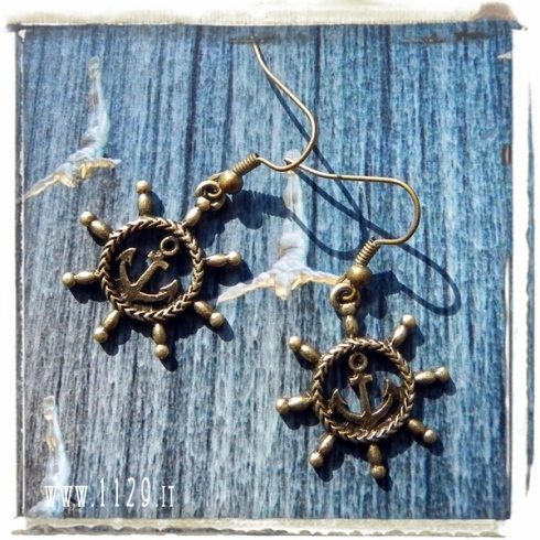 orecchini ciondolo bronzo ancora timone mare barca sea ship anchor bronze charm earrings 1129 26x25mm