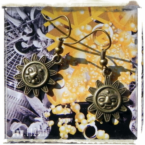 orecchini ciondolo bronzo sole viso face sun bronze charm earrings 1129 20x15mm