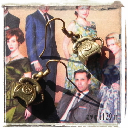 orecchini ciondolo bronzo telefono vintage old fashion 3d bronze telephone charm earrings 1129 15x14mm