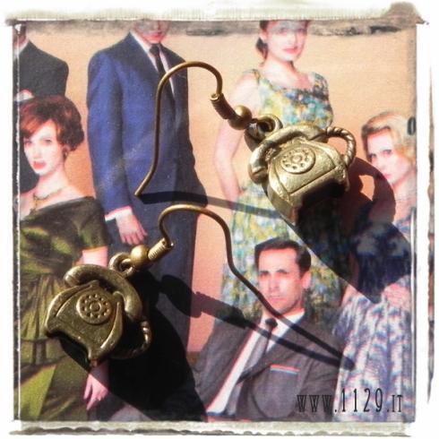 orecchini ciondolo bronzo telefono vintage old fashion 3d bronze telephone charm earrings 1129 15x14mm