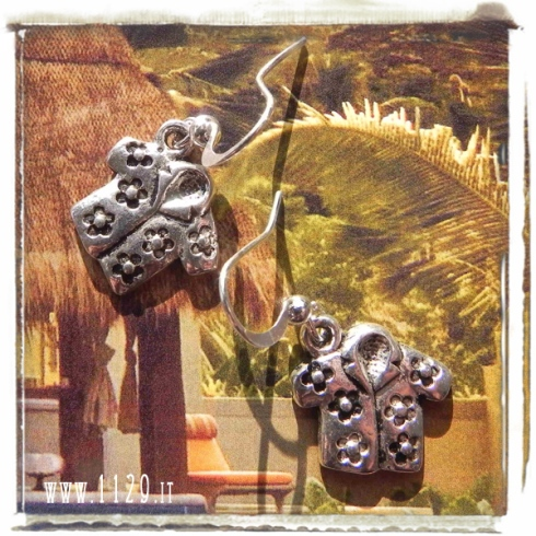 orecchini ciondolo camicia hawaiana tropical tiki shirt charms earrings 1129 18x15mm