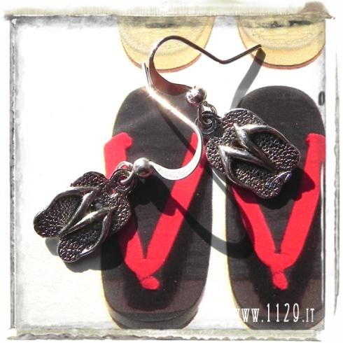 orecchini ciondolo ciabattine infradito flip flop estate summer silver charms earrings 1129 18x10mm