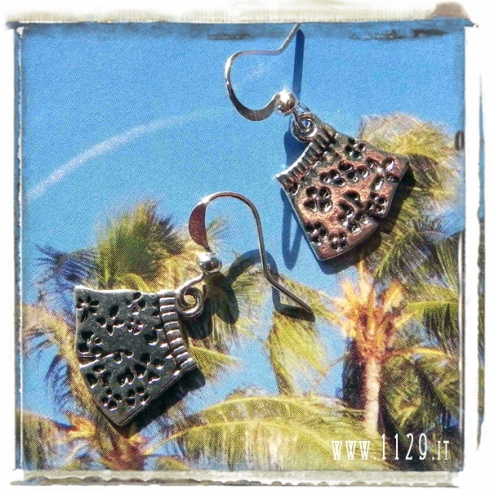 orecchini ciondolo shorts bermuda hawaiani tropical tiki charms earrings 1129 16x17mm