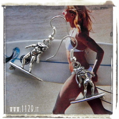 orecchini ciondolo surfista surf surfer charm earrings 1129 24x19mm