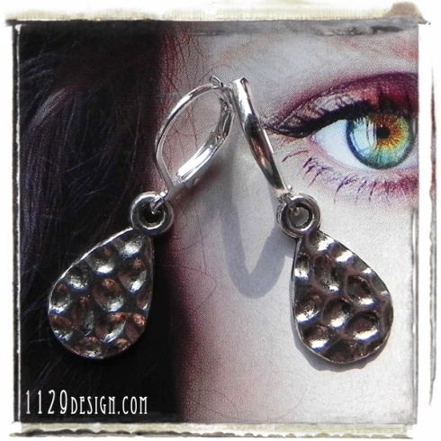 orecchini goccia argento martellata hammered silver drop earring 1129design