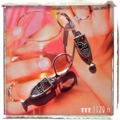 orecchini ciondolo argento bicchiere spumante flut brindisi champagne glass silver charms earrings 1129 20x6mm