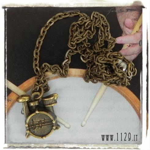 rockit collana unisex batteria bronzo drumset necklace