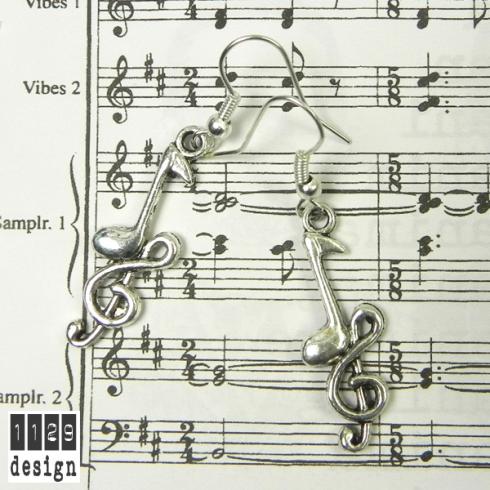 orecchini musica chiave di violino e nota